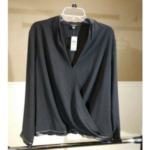 NWT Women Ann Taylor petite sz XLP black faux wrap